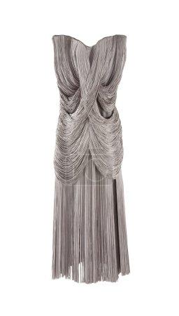 Photo pour Élégant gris frange robe magnifique isolé sur fond blanc. tracé de détourage inclus. - image libre de droit