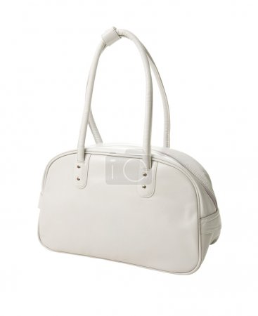 Retro white leather sport bag