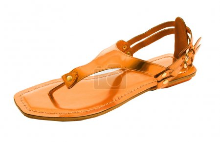 Orange metallized flip flop patent leather sandal isolated on wh