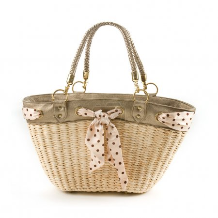 Polka dots vintage belt and leather basket tote