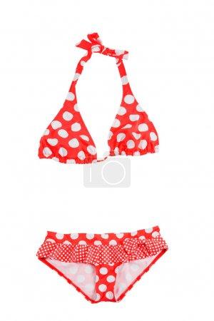 Frilly polka dots red bikini