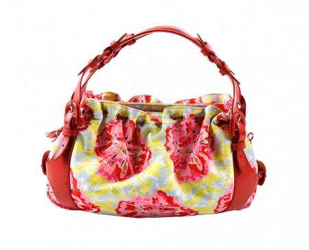 Flowery buckled red leather tote