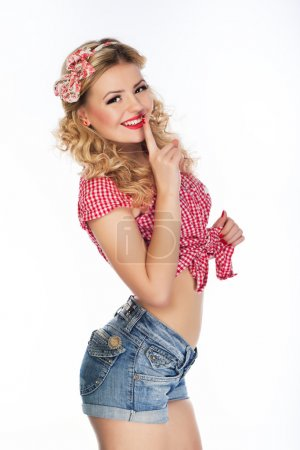 Photo for Portrait of beautiful girl model in pin up - Royalty Free Image