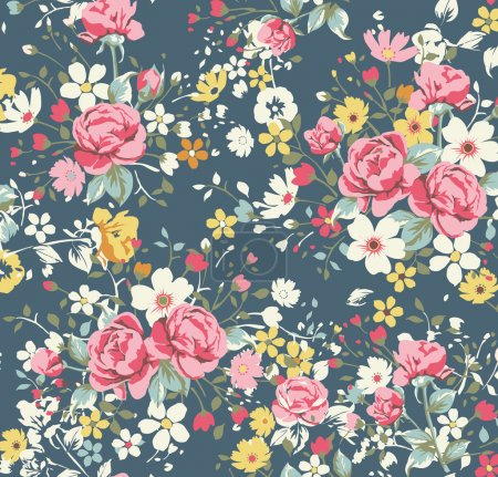 Illustration for Wallpaper vintage rose pattern on navy background - Royalty Free Image