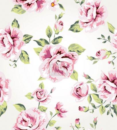 Illustration for Seamless vintage flower pattern vector background - Royalty Free Image