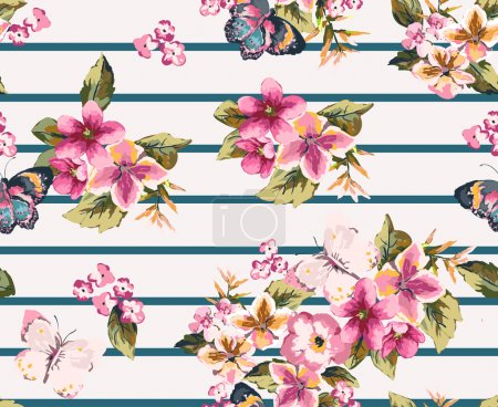 Illustration for Butterfly with floral seamless pattern on stripe background - Royalty Free Image