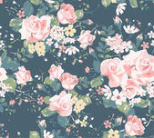 seamless vintage rose pattern on navy background
