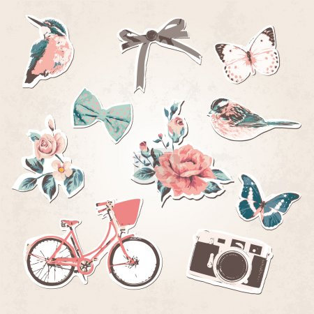 Illustration for Vintage things set-birds,bows,flow ers,bike,camera,but terflies on grunge background - Royalty Free Image