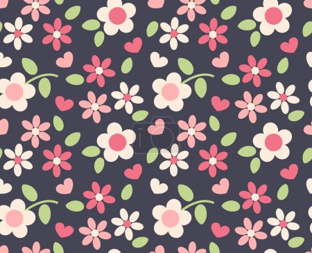 Illustration for Spring cute flowers seamless pattern background - Royalty Free Image