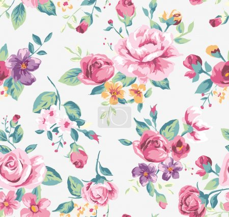Illustration for Vintage tropical flower pattern vector - Royalty Free Image