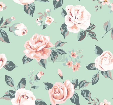Illustration for Classic wallpaper seamless vintage flower pattern on green background - Royalty Free Image