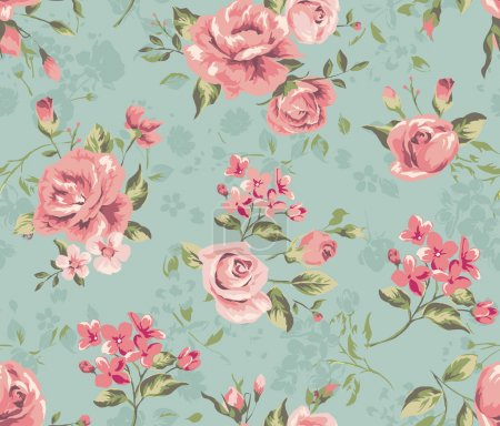 Illustration for Classic wallpaper seamless vintage flower pattern background - Royalty Free Image