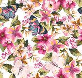"""Постер, картина, фотообои """"бабочка с цветочным бесшовным образцом на синем фоне"""""""