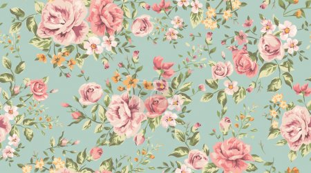 Illustration for Classic wallpaper vintage flower pattern background - Royalty Free Image