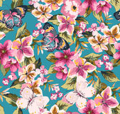 Butterfly with floral seamless pattern on blue background
