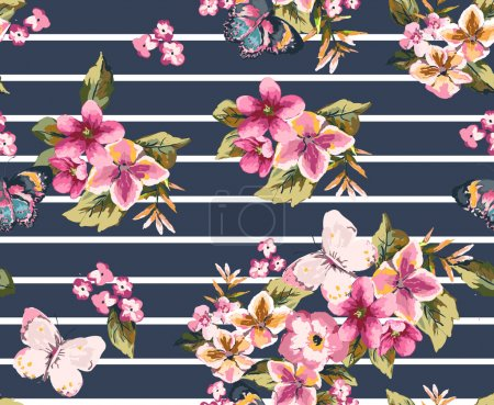 Illustration for Butterfly with floral seamless pattern on stripe background1 - Royalty Free Image