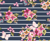 Butterfly with floral seamless pattern on stripe background1