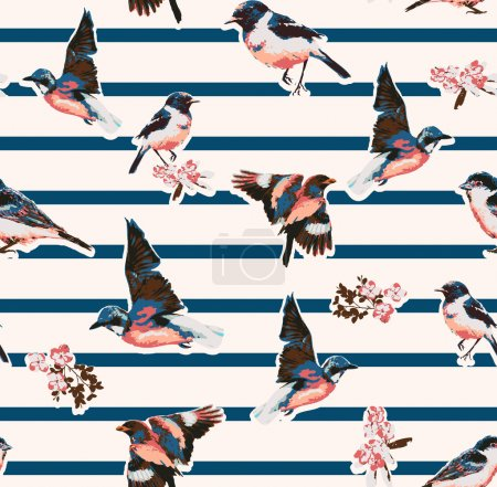 Illustration for Seamless birds with flower on stripe background - Royalty Free Image