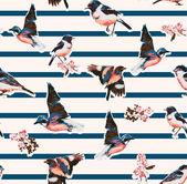Seamless birds with flower on stripe background