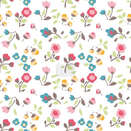 Seamless spring summer tiny flower vector pattern background