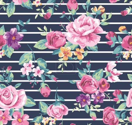 Vintage tropical flower pattern with stripe background