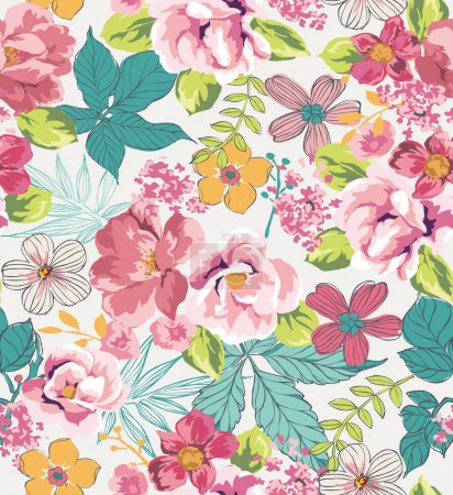 Illustration for Seamless tropical floral background vector pattern - Royalty Free Image