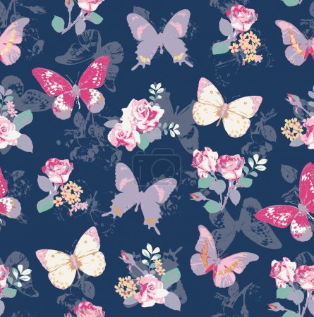 Illustration for Seamless rose with butterfly on navy background - Royalty Free Image