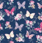Seamless rose with butterfly on navy background