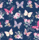 Varrat nélküli Rózsa pillangóval sötétkék háttérrel