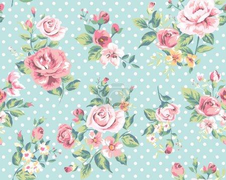 Illustration for Wallpaper seamless vintage pink flower pattern on dots background - Royalty Free Image
