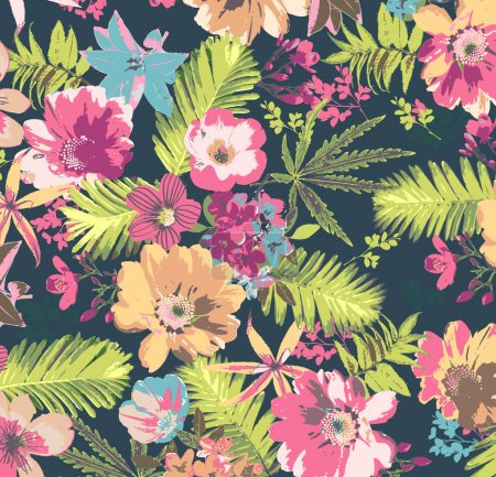 Illustration for Tropical flower pattern on blue background - Royalty Free Image