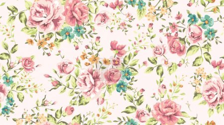 Illustration for Classic wallpaper seamless vintage flower pattern vector background - Royalty Free Image