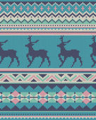 Seamless ethnic knitting with seamless Elegant Christmas deer