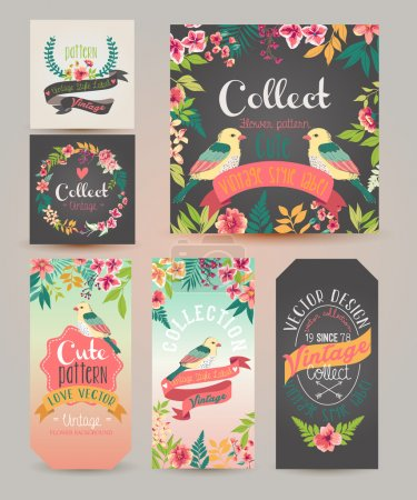 Greeting card romantic labels with flower