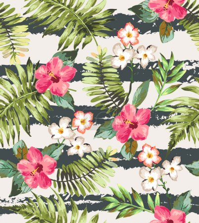 Seamless tropical flowers with brush stripe vector pattern background