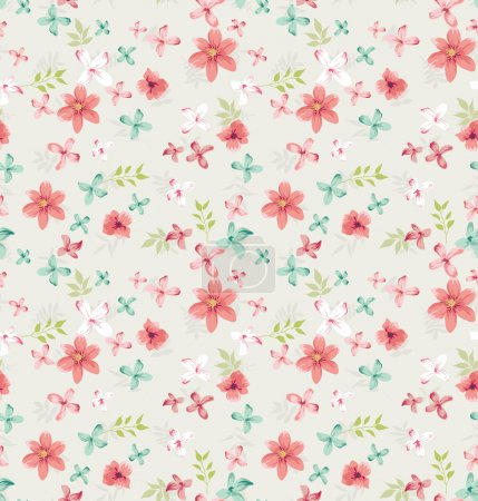 Seamless vintage tiny floral vector pattern