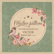 Vintage greeting card flower with birds vector pat...