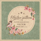 Vintage greeting card flower with birds vector pattern