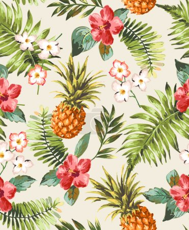Vintage seamless tropical flowers with pineapple vector pattern background
