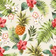 Vintage seamless tropical flowers with pineapple v...