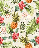 Vintage zökkenőmentes trópusi virágok, ananásszal vector háttér minta