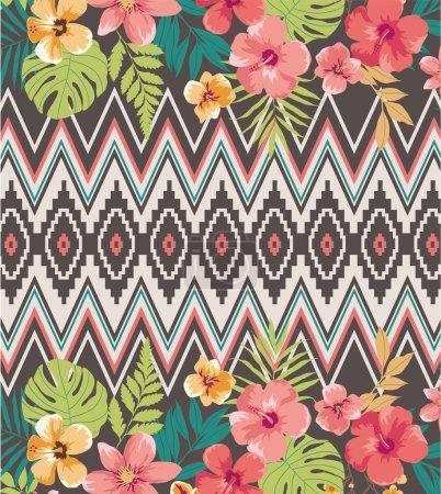 Mélange ethnique fond fleur tropicale vector