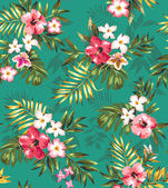 Seamless tropical flower plant vector pattern background