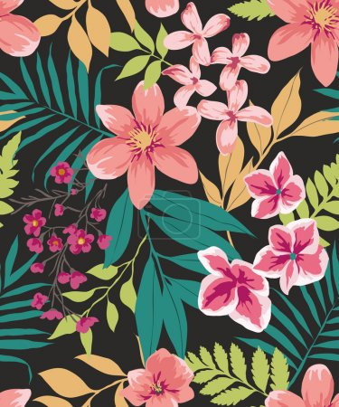 Illustration for Seamless tropical flower ,plant vector pattern background - Royalty Free Image