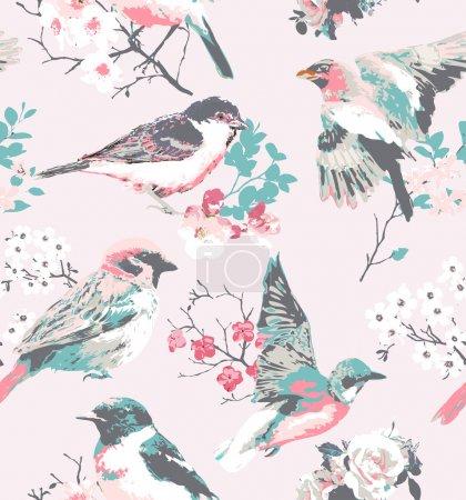 Spring flower with bird seamless pattern pink background