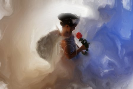 Painted calm angel girl lovingly holds a rose