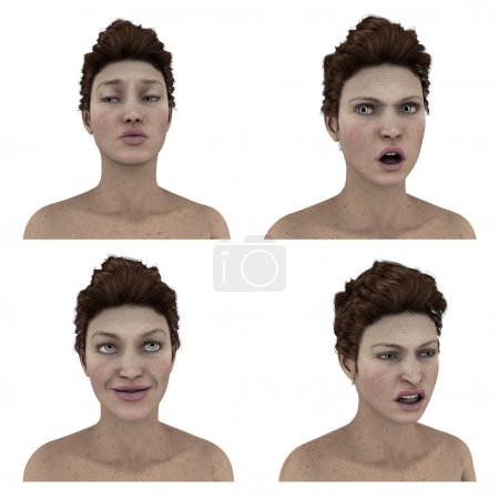 3d womans facial expressions on white background
