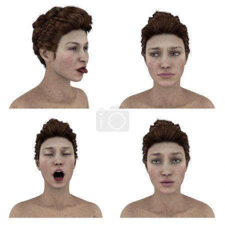 beautiful womans facial expressions on white - sad, hopeful, discouraged, yawn