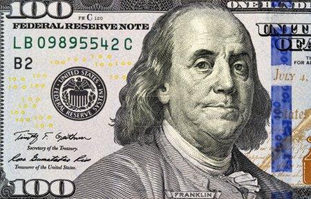 one hundred dollars bill fragment macro