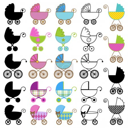 Collection of Bright Baby Carriage Vectors